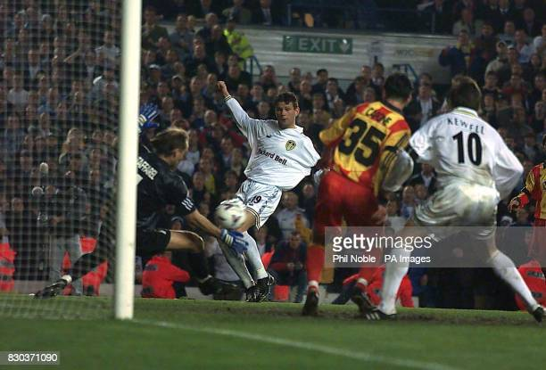 This picture can only be used within the context of an editorial feature Eric Bakke of Leeds has a shot saved by Galatasaray Goalkeeper Claudio...