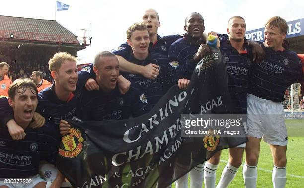 This picture can only be used within the context of an editorial feature Manchester United players celebrate winning the FA Premiership Championship...