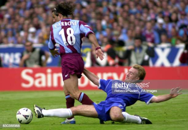 This picture can only be used within the context of an editorial feature Chelsea's Didier Deschamps tackle's Aston Villa's Benito Carbone during the...