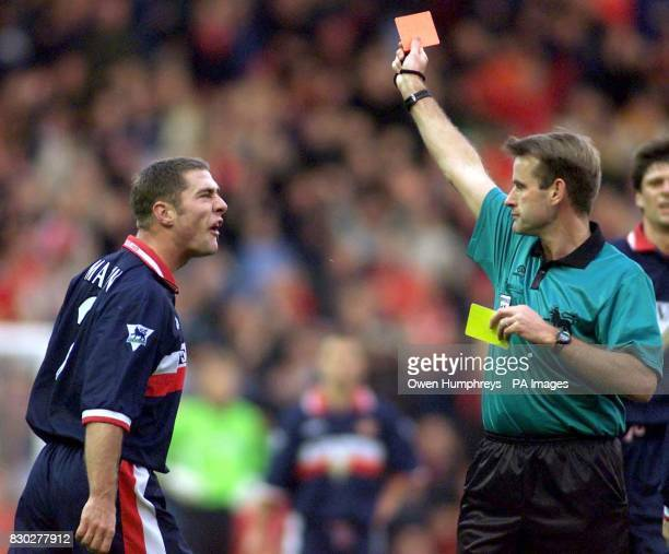 This picture can only be used within the context of an editorial feature Sunderland 's Chris Malkin is shown the red card after a challenge on...