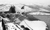 This picture dated March 1995 shows Russian submarine 'Kursk' at its base in Vidyayevo The Kursk nuclear submarine with 118 crew trapped in icy...