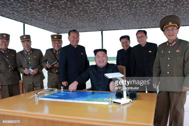 TOPSHOT This picture from North Korea's official Korean Central News Agency taken on August 29 2017 and released on August 30 2017 shows North Korean...