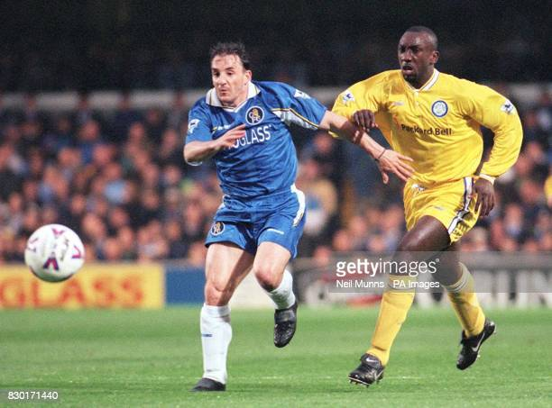 This picture may onlt be used within the context of an editorial feature Chelsea's Albert Ferrer fends of a challenge from Leed's Jimmy Floyd...