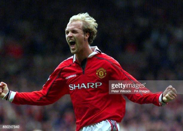 This picture may only be used within the context of an editorial feature Manchester United's Jordi Cruyff celebrates his goal against Wimbledon at...