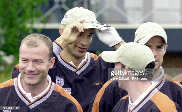 This picture may only be used within the context of an editorial feature England footballers LR Alan Shearer David James Robbie Fowler and Jamie...