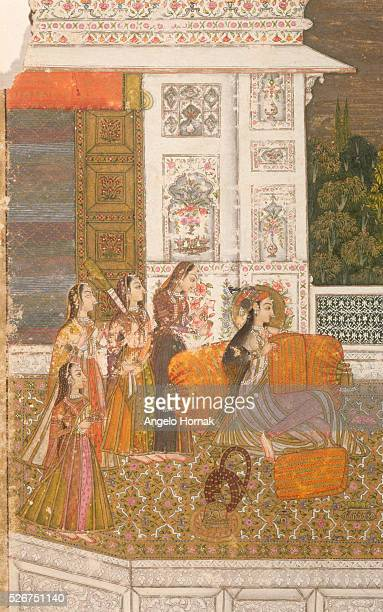 This picture of a lady at leisure with her maids dates from around the 18th century and is currently to be found in the National Museum of New Delhi