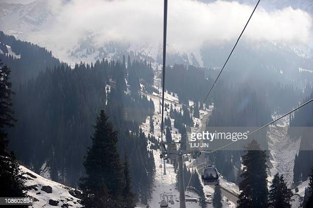 This picture shows a cable car linking the Medeu Alpine Ice Arena and the Shymbulak Alpine Resort in Almaty on January 30 2011 The Asian Winter Games...