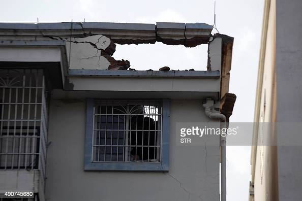 This picture shows a damaged residential building after a blast occurred in the early morning in Liucheng a rural county of the Guangxi region on...