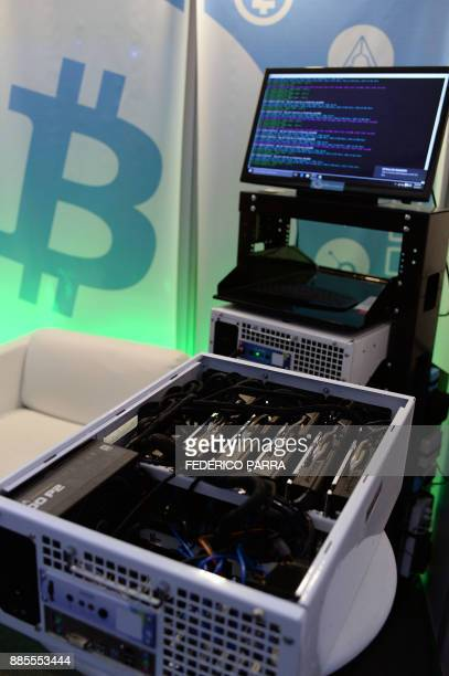 This picture shows a data miner's machine used to create Ethereum at the International Science and Technology Fair in Caracas on December 4 2017...