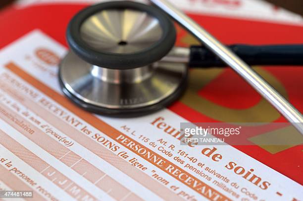 This picture shows a form given by doctors to patients to send to the Social Security on May 21 2015 in Quimper western France AFP PHOTO / FRED...