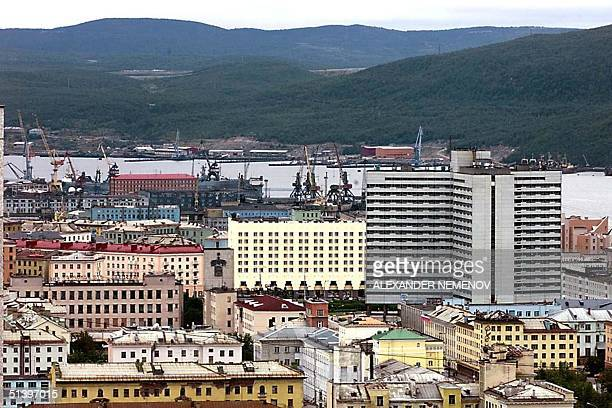This picture shows a general view of downtown Murmansk 17 August 2000 Russian 'Kursk' submarine crashed 150 km from this city in the Barents Sea All...