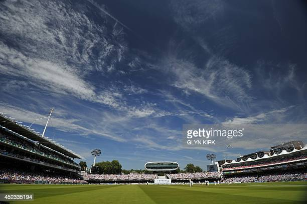 This picture shows a general view of the field of play during the second day of the second Test cricket match between England and India at Lord's...