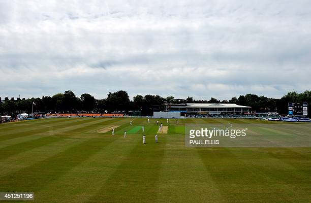 This picture shows a general view of the ground during the first day of the cricket Tour Match between Leicestershire and India at Grace Road in...