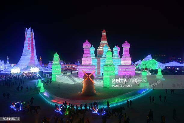 This picture shows a general view of the opening ceremony of the Harbin International Ice and Snow Festival at the China Ice and Snow World in Harbin...