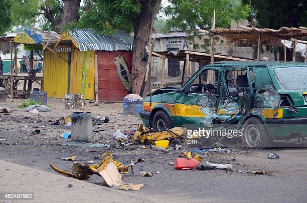 This picture shows a general view of the scene of an Improvised Explosive Device blast at Gomboru market in Maiduguri Borno State in northeastern...