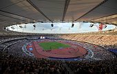 This picture shows a general view of the stadium during the London Anniversary Games International Association of Athletics Federations Diamond...
