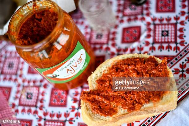 BRIEN This picture shows a jar of homemade 'ajvar' popular relish made of red peppers in Brestovac village near the south Serbian town of Leskovac on...
