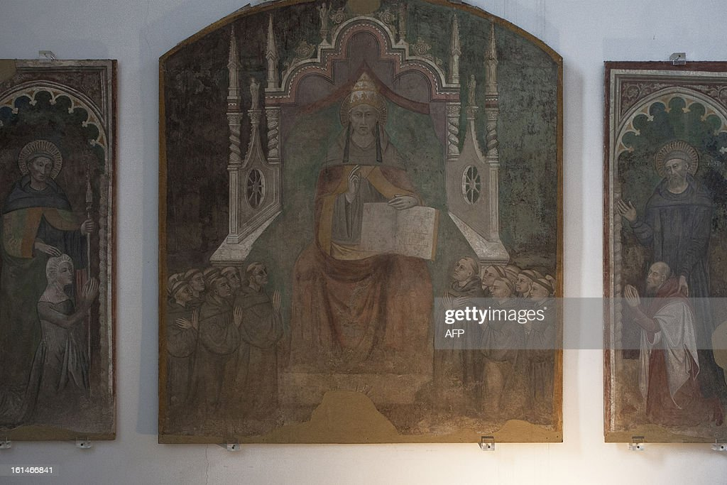 This picture shows a painting of Pope Celestine V by Italian painter Niccolo' Di Tommaso (Florence, Italy 1346-1376) in the museum of CatelNuovo in Naples on February 11, 2013. Pope Benedict XVI announced on February 11, 2013 his resignation, while the last pope to have abdicated the papacy is Celestine V in 1294.