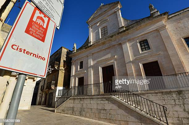 This picture shows a placard in Cisternino in the southern Italian region of Puglia on December 10 2012 Cisternino is one of the few places on earth...