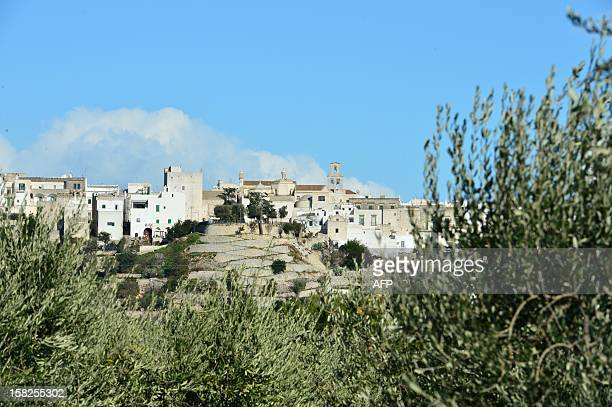 This picture shows a view of Cisternino in the southern Italian region of Puglia on December 11 2012 Cisternino is one of the few places on earth...