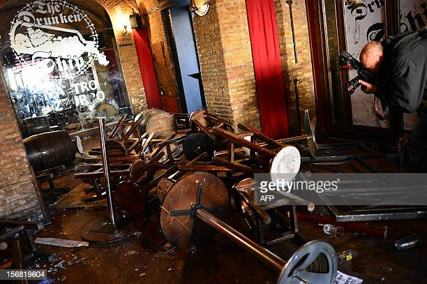 This picture shows a view of the Drunken Ship pub at Campo di Fiori after a fight overnight between Lazio and Tottenham supporters on the eve of the...