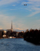 This picture shows a view of the Mole Antonelliana in Turin on February 3 2013 AFP PHOTO / TIZIANA FABI