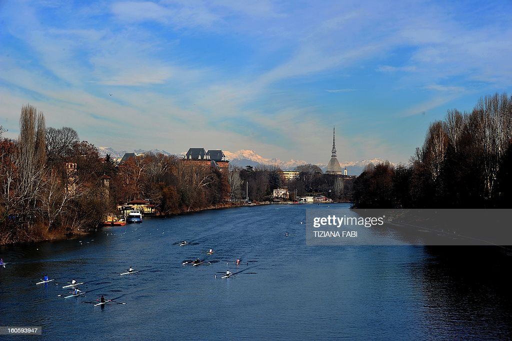 This picture shows a view of Turin, on February 3, 2013.