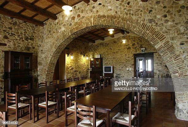 This picture shows a view taken on May 14 2010 near Corleone on the Italian island of Sicily of the dining room of the 'Terre di Corleone' a bed and...