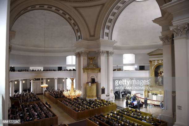This picture shows an inner view of the Cathedral in Helsinki during the state funeral of Finland's late President Mauno Koivisto on May 25 2017 /...