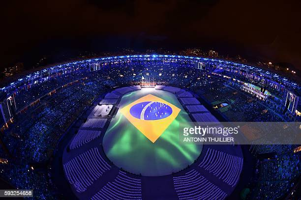 TOPSHOT This picture shows an overview during the closing ceremony of the Rio 2016 Olympic Games at the Maracana stadium in Rio de Janeiro on August...