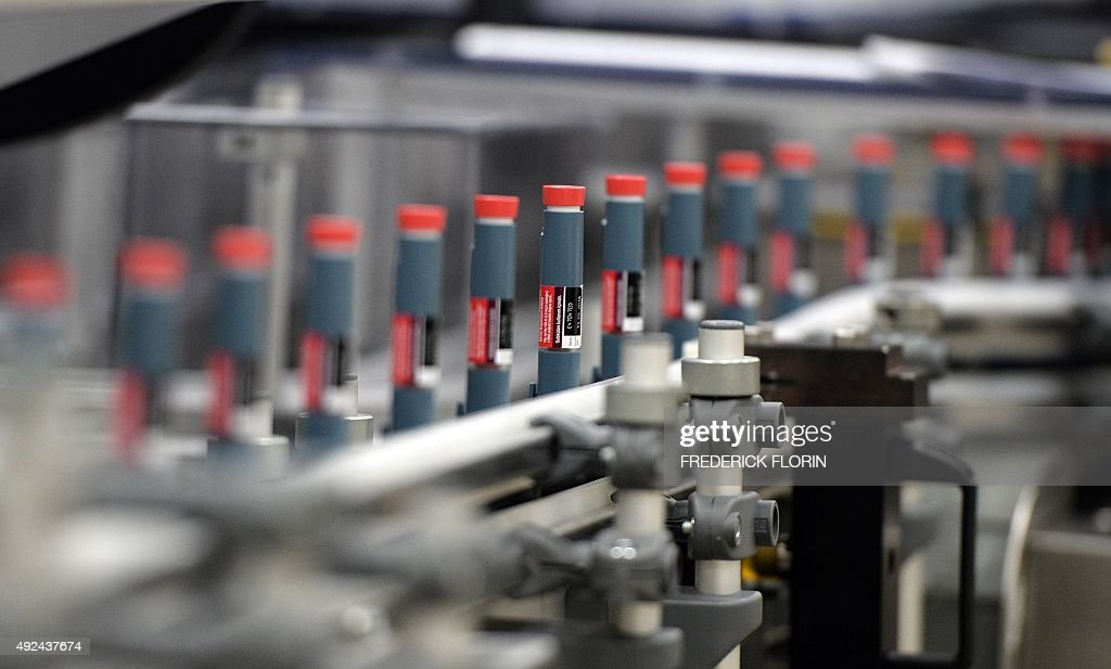 BALMER This picture shows an unit dedicated to the production of insulin pens at the factory of the US pharmaceutical company Eli Lilly in Fegersheim...