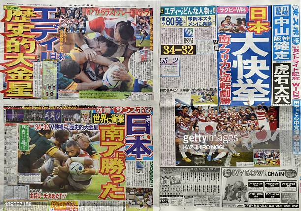 This picture shows Japanese sports newspapers reporting on Japan's win over South Africa in the Rugby World Cup Pool B opener in Tokyo on September...