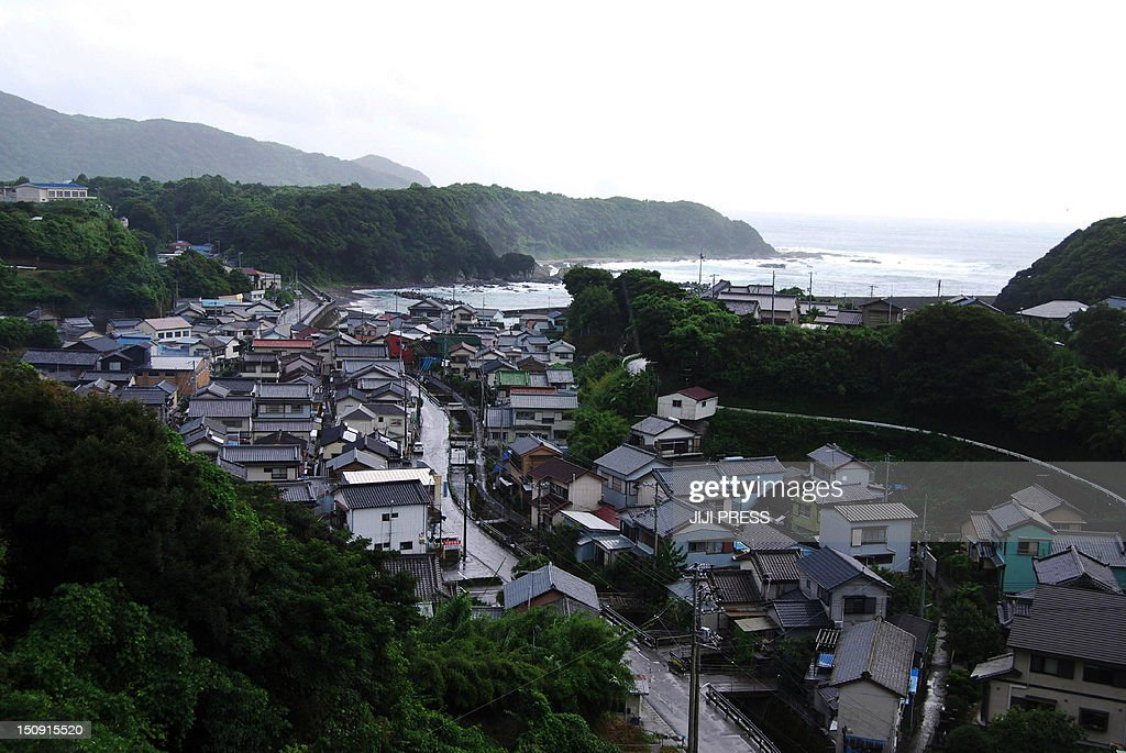 This picture shows landscape of Tosashimizu city in Kochi prefecture in Japan's southern island of Shikoku on August 29, 2012. Japanese government unveiled a worst-case disaster scenario that warned a monster earthquake in the Pacific Ocean could kill over 320,000, dwarfing last year's quake-tsunami disaster. AFP PHOTO / JIJI PRESS JAPAN OUT