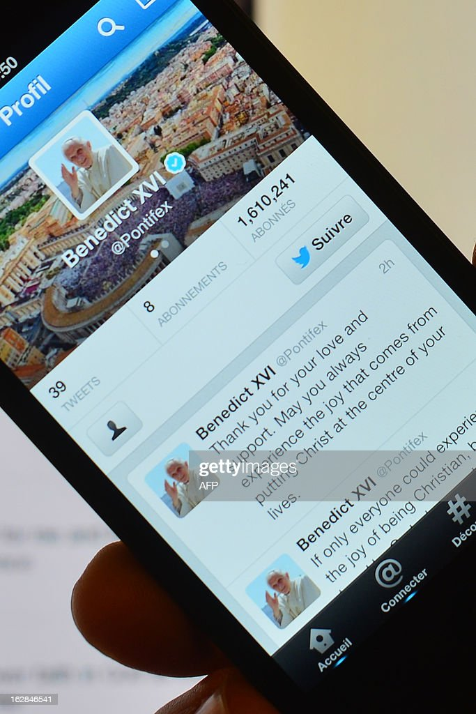 This picture shows Pope Benedict XVI's last tweet on February 28, 2013 in Rome. Pope Benedict XVI urged his followers to put 'Christ at the centre of your lives' in his final tweet from his Twitter handle @pontifex on Thursday, three hours before his historic retirement.