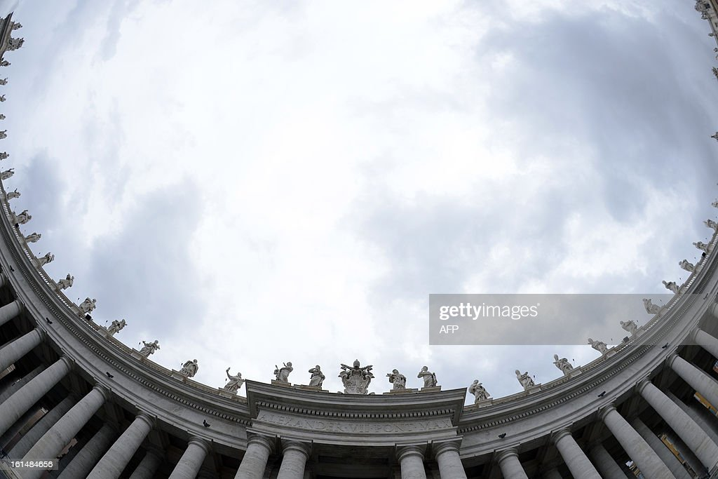 This picture shows statues ontop of the colonnade at the Vatican after it was announced earlier in the day that Pope Benedict XVI will resign on February 11, 2013. Pope Benedict XVI on February 11, 2013 announced he will resign on February 28, a Vatican spokesman told AFP, which will make him the first pope to do so in centuries.