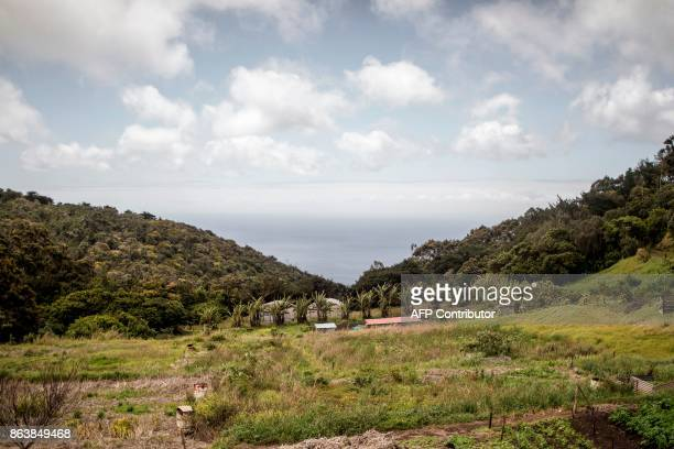 This picture shows the Atlantic Ocean and farms seen from the Plantation House the United Kingdom Governor official residence on October 20 2017 in...