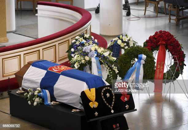 This picture shows the coffin of Finland's former President Mauno Koivisto ahead of the state funeral ceremony at the Cathedral in Helsinki on May 25...