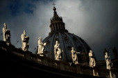 This picture shows the dome of St Peter's basilica at the Vatican on March 9 2013 The Vatican on Saturday installed a special chimney on the Sistine...
