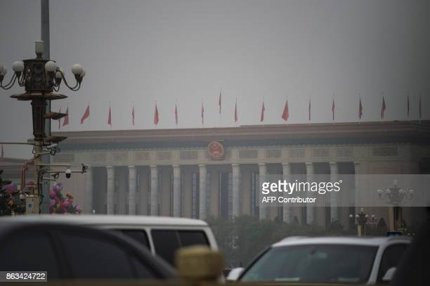 This picture shows the Great Hall Of the People on a polluted day during the Communist Party's 19th Congress in Beijing on October 20 2017 The...