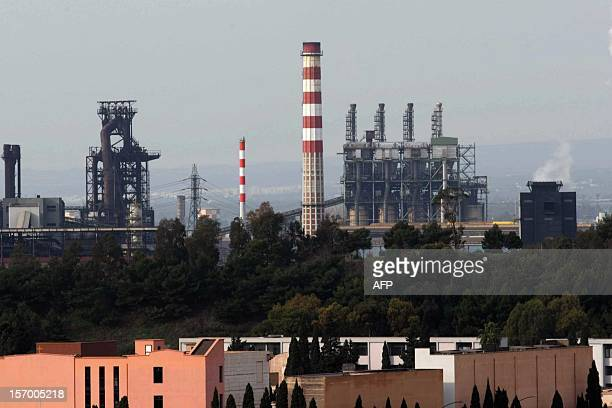 This picture shows the ILVA steel plant on November 27 2012 in Taranto Hundreds of striking Italian steel workers occupied offices at the giant ILVA...