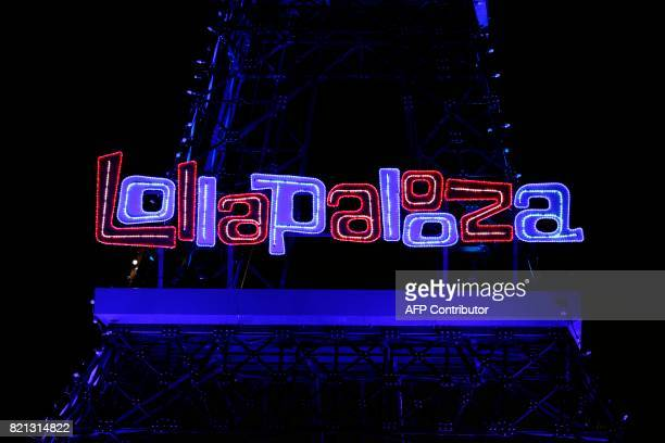 This picture shows the Lollapalooza music festival logo at the Longchamp Hippodrome in Paris on July 23 2017 / AFP PHOTO / GEOFFROY VAN DER HASSELT