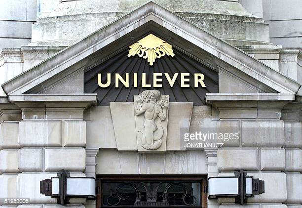 This picture shows the Unilever's decorative entrance at their London headquarters 22 February 2000 after the firm reported a six percent net profits...