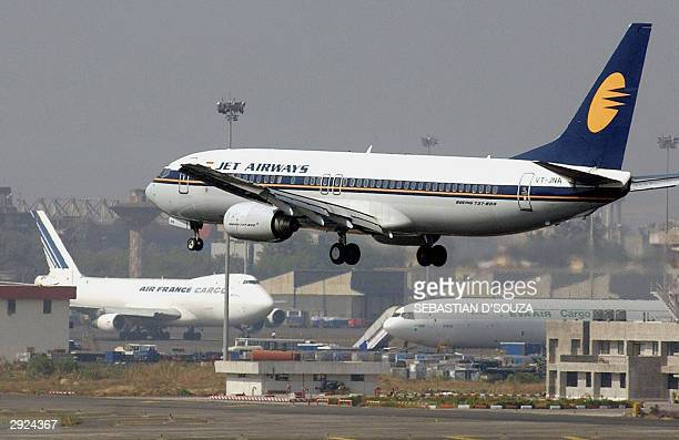 This picture taken 02 January 2004shows an aircraft of Jet Airways coming into land at Bombay Airport Indian authorities are poised to allow private...