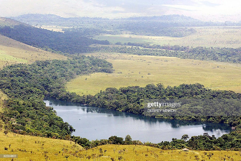 This picture taken 08 February 200 shows a lake in the Lefini natural reserve 140 kms north of Brazzaville AFP PHOTO/DESIREY MINKOH