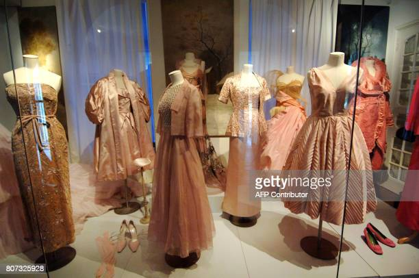 This picture taken 14 May 2007 shows outfits by Dior as part of an exhibition in the house where Christian Dior was born in Granville on the Normandy...