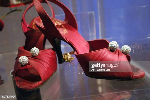This picture taken 14 May 2007 shows shoes designed in 1953 by Dior as part of an exhibition in the house where Christian Dior was born in Granville...