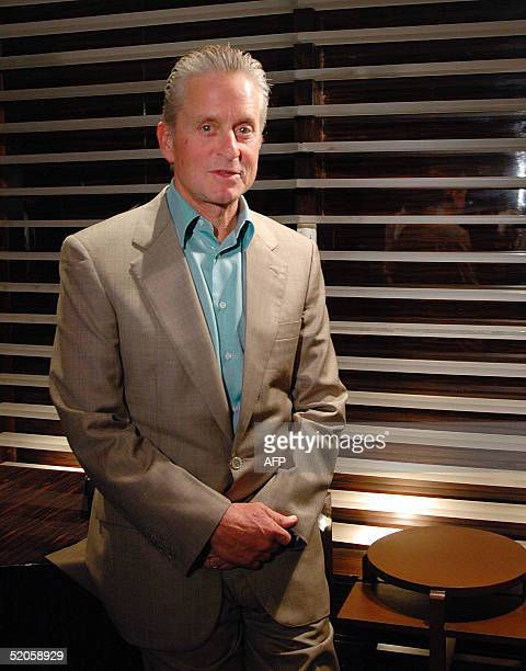 This picture taken 24 January 2005 shows US Oscarwinning actor Michael Douglas announcing his next adventure flick 'Racing the Monsoon' to be shot in...