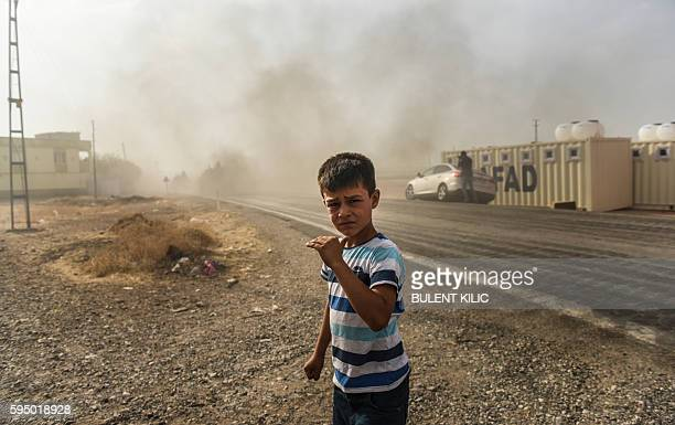 TOPSHOT This picture taken around 5 kilometres west from the Turkish Syrian border city of Karkamis in the southern region of Gaziantep on August 25...