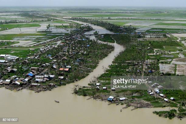 This picture taken from a helecopter on July 29 shows a general aerial view of an area affected by cyclone Nargis at Bogalay township Myanmar's...