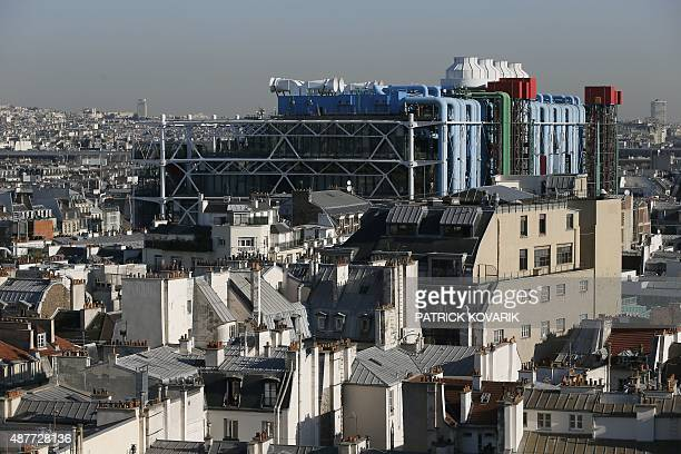 This picture taken from the roof of Paris' city hall on September 11 2015 shows the Centre Pompidou also known as Beaubourg art center AFP PHOTO /...